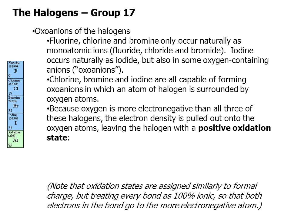 The Halogens – Group 17 Oxoanions of the halogens