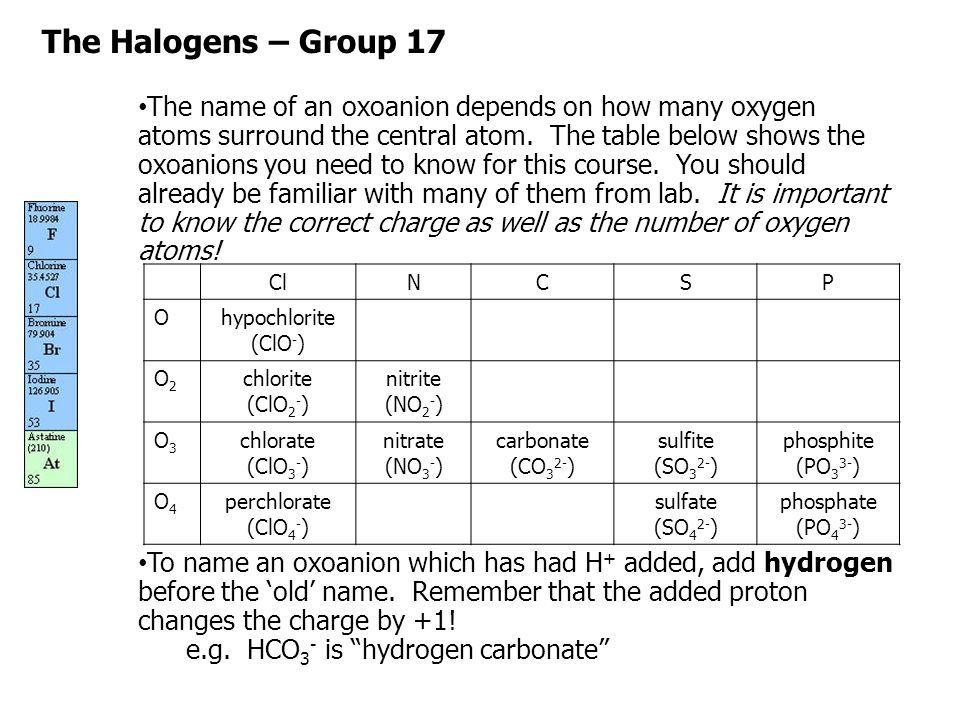 The Halogens – Group 17