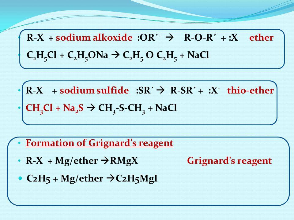 R-X + sodium alkoxide :OR´-  R-O-R´ + :X- ether