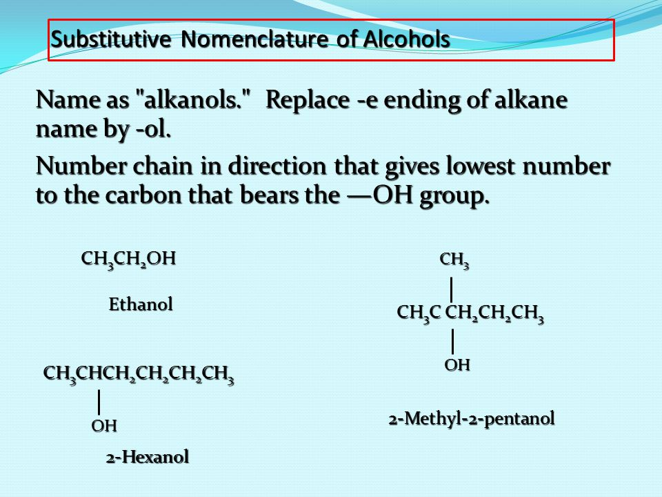Substitutive Nomenclature of Alcohols