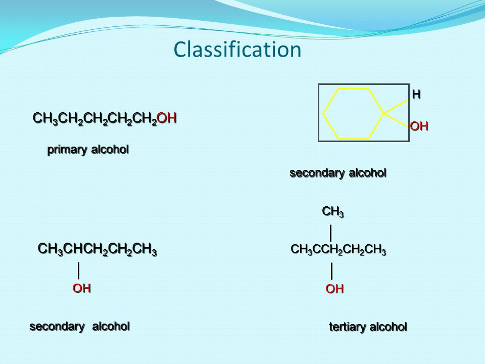 Classification CH3CH2CH2CH2CH2OH CH3CHCH2CH2CH3 H OH primary alcohol