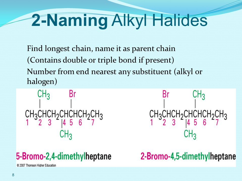 2-Naming Alkyl Halides Find longest chain, name it as parent chain