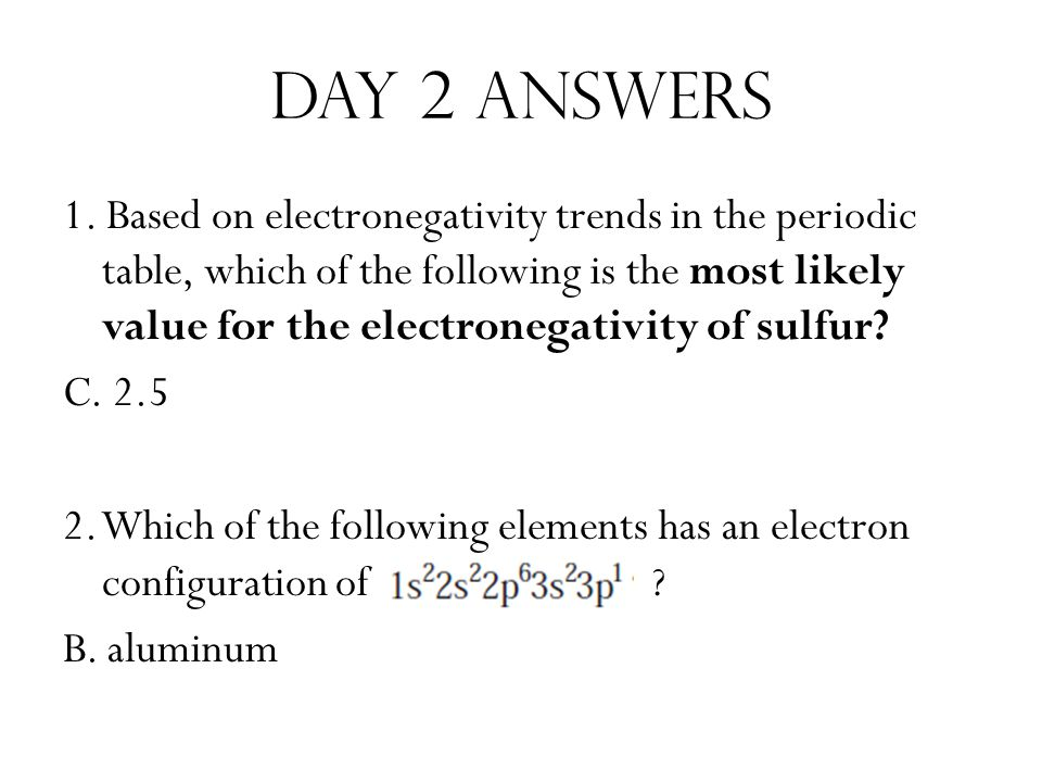 Day 2 answers