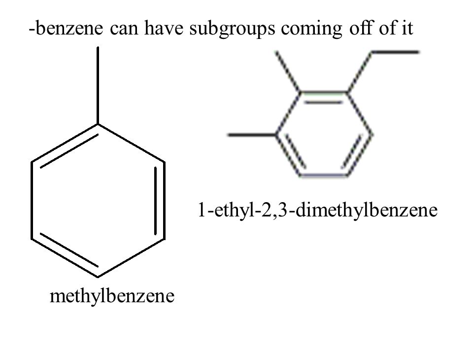 -benzene can have subgroups coming off of it 1-ethyl-2,3-dimethylbenzene methylbenzene
