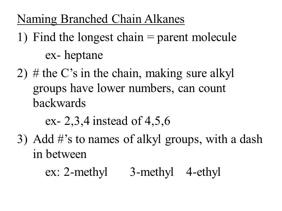 Naming Branched Chain Alkanes