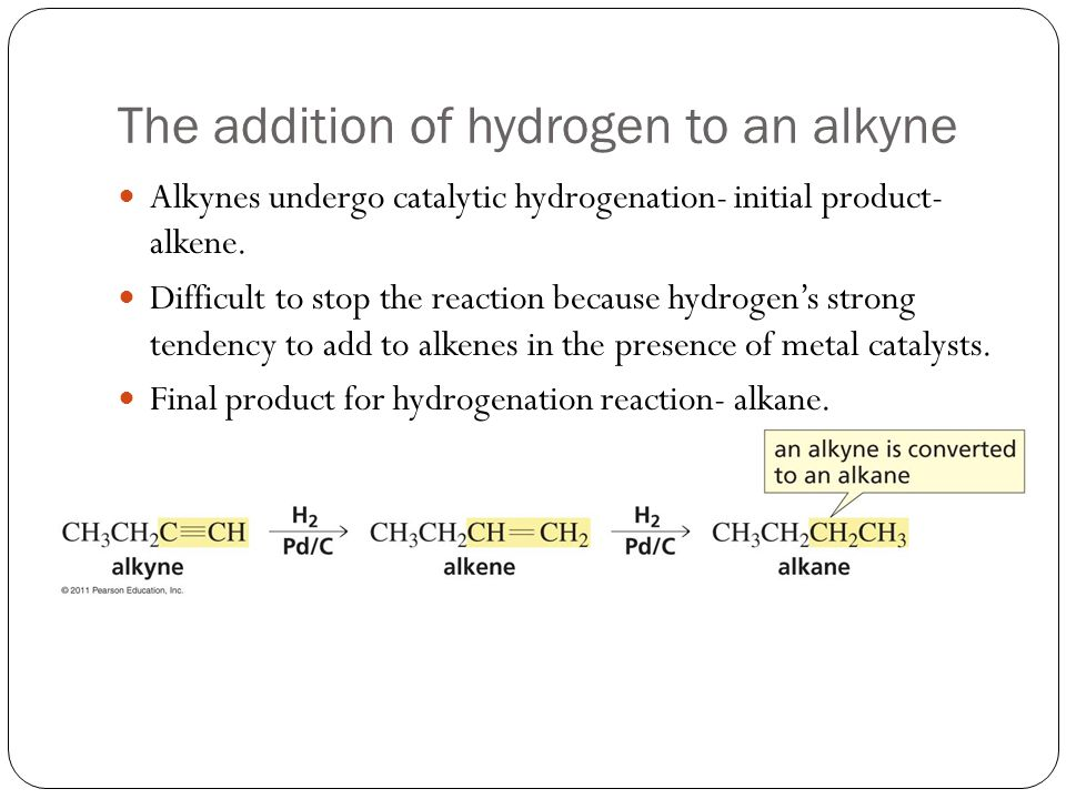 The addition of hydrogen to an alkyne