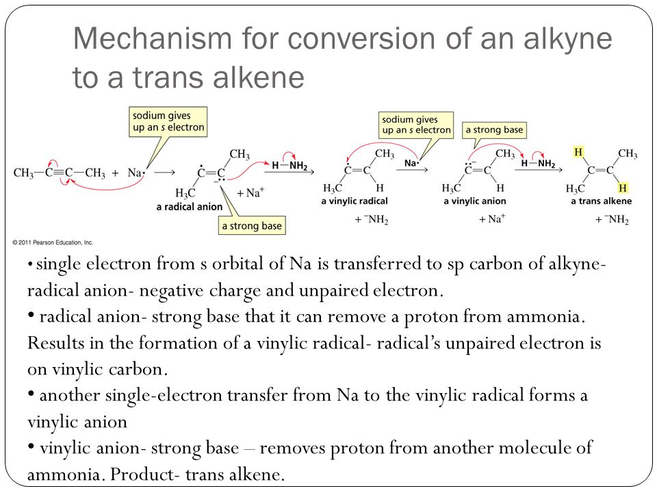 Mechanism for conversion of an alkyne to a trans alkene