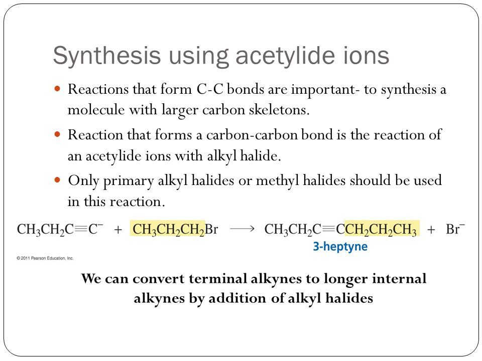 Synthesis using acetylide ions