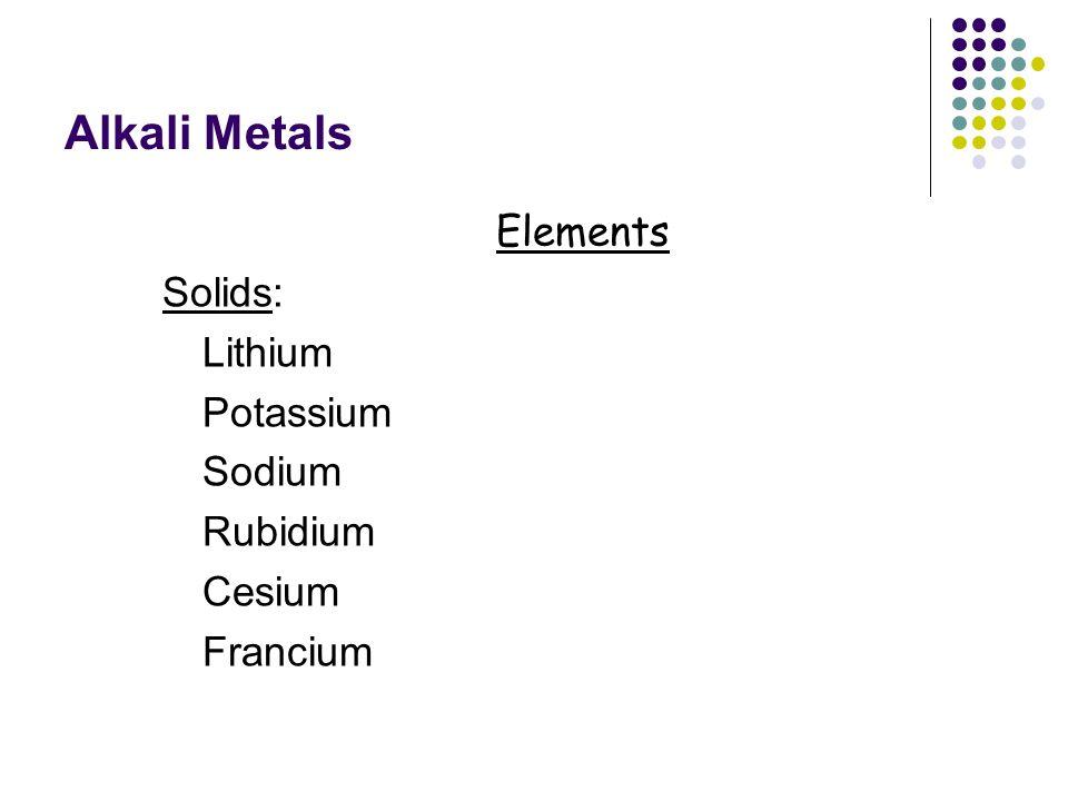 Alkali Metals Elements Solids: Lithium Potassium Sodium Rubidium