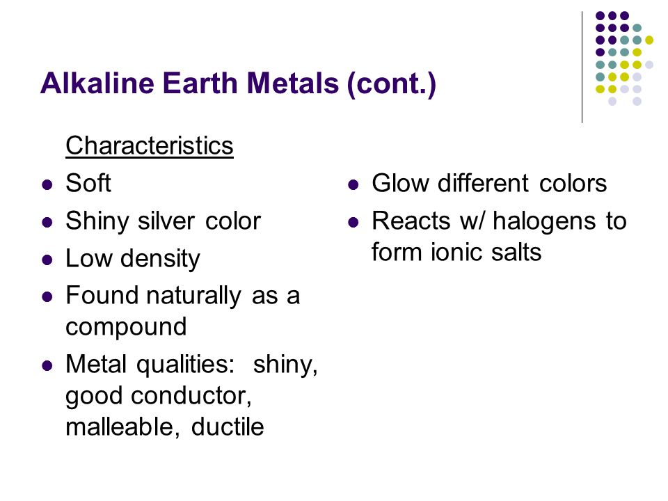 Alkaline Earth Metals (cont.)