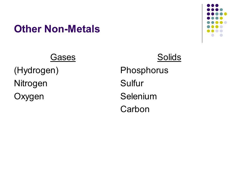 Other Non-Metals Gases (Hydrogen) Nitrogen Oxygen Solids Phosphorus