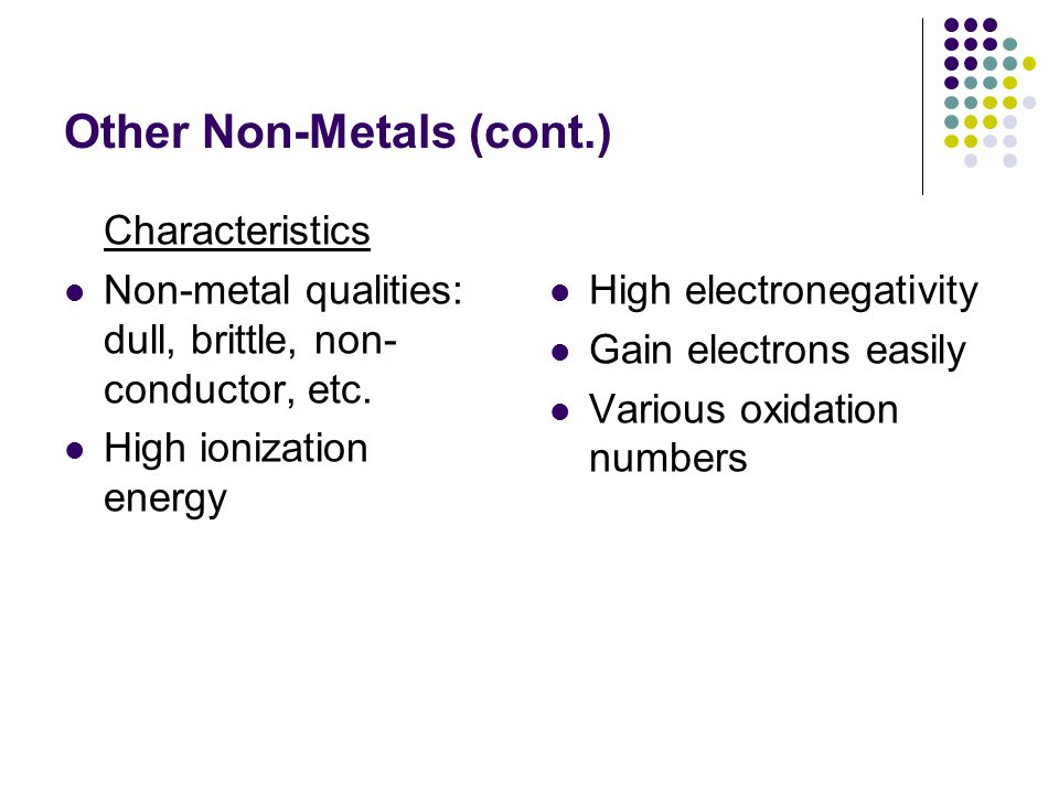 Other Non-Metals (cont.)