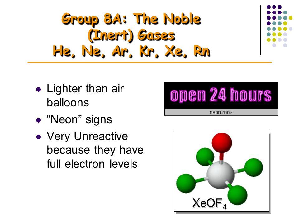 Group 8A: The Noble (Inert) Gases He, Ne, Ar, Kr, Xe, Rn