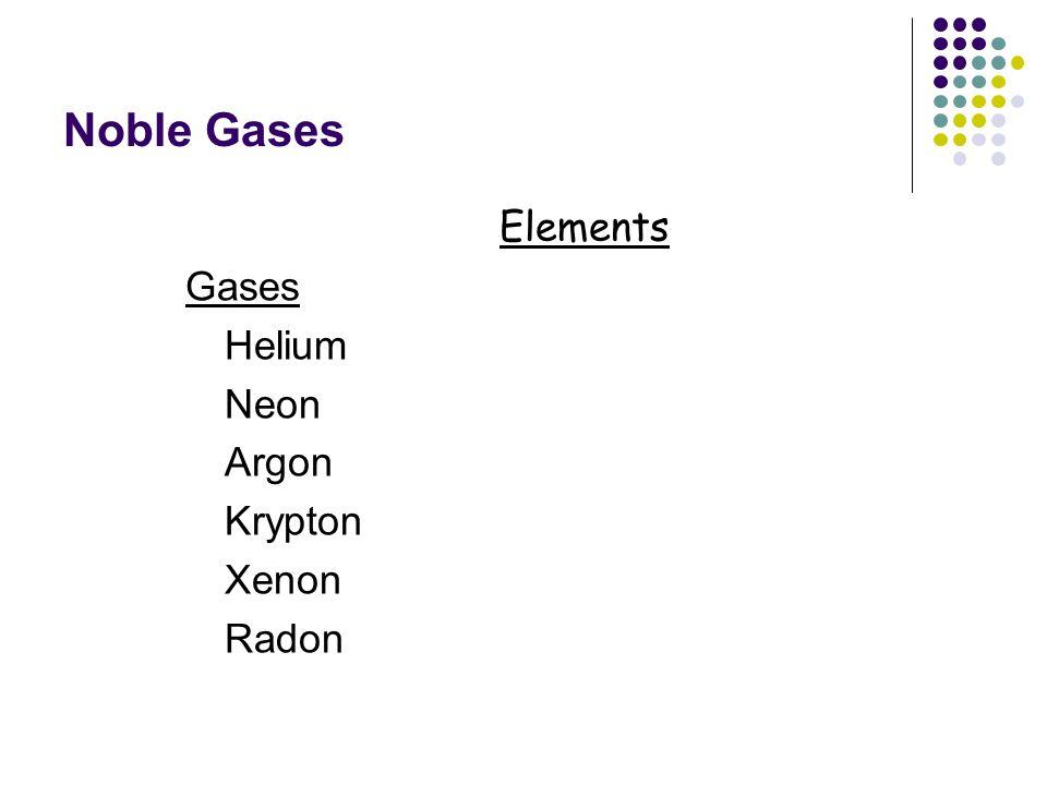 Noble Gases Elements Gases Helium Neon Argon Krypton Xenon Radon