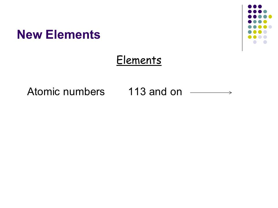 New Elements Elements Atomic numbers 113 and on