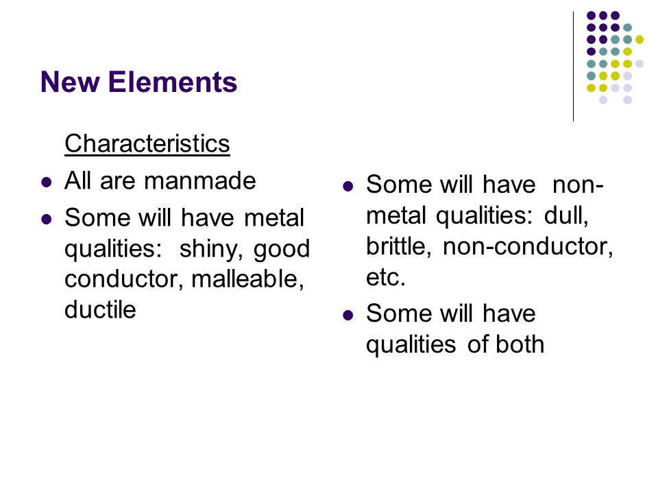 New Elements Characteristics All are manmade