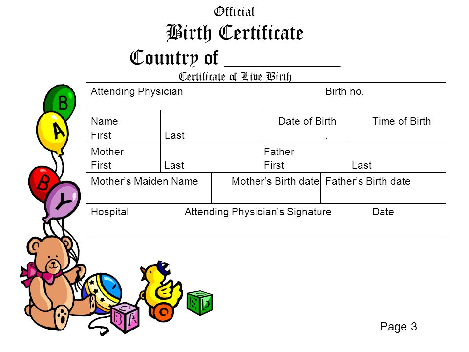 Official Birth Certificate Country of ___________ Certificate of Live Birth