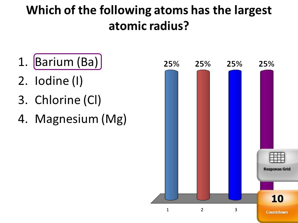 Which of the following atoms has the largest atomic radius