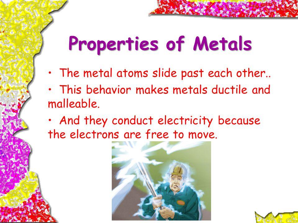 Properties of Metals The metal atoms slide past each other..