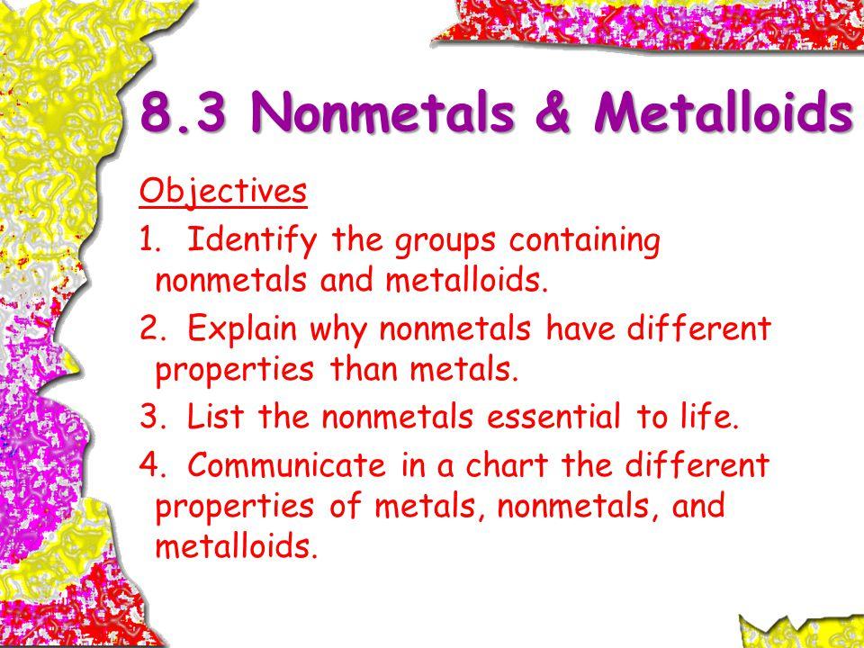 8.3 Nonmetals & Metalloids