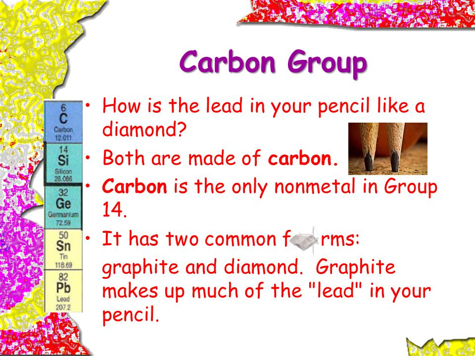 Carbon Group How is the lead in your pencil like a diamond