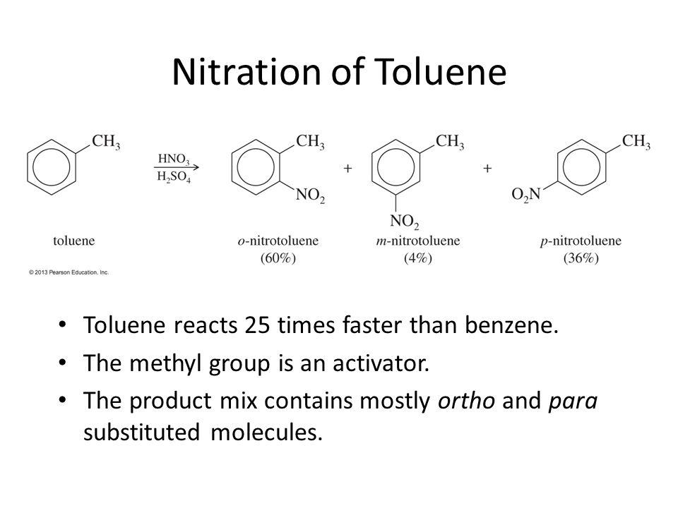 Nitration of Toluene Toluene reacts 25 times faster than benzene.