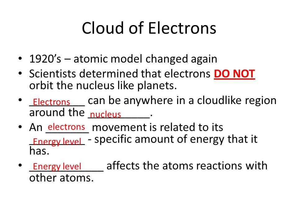 Cloud of Electrons 1920's – atomic model changed again