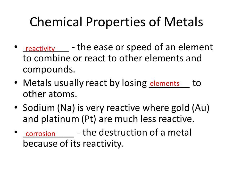 Chemical Properties of Metals