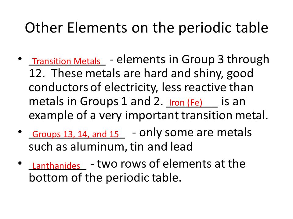 Other Elements on the periodic table