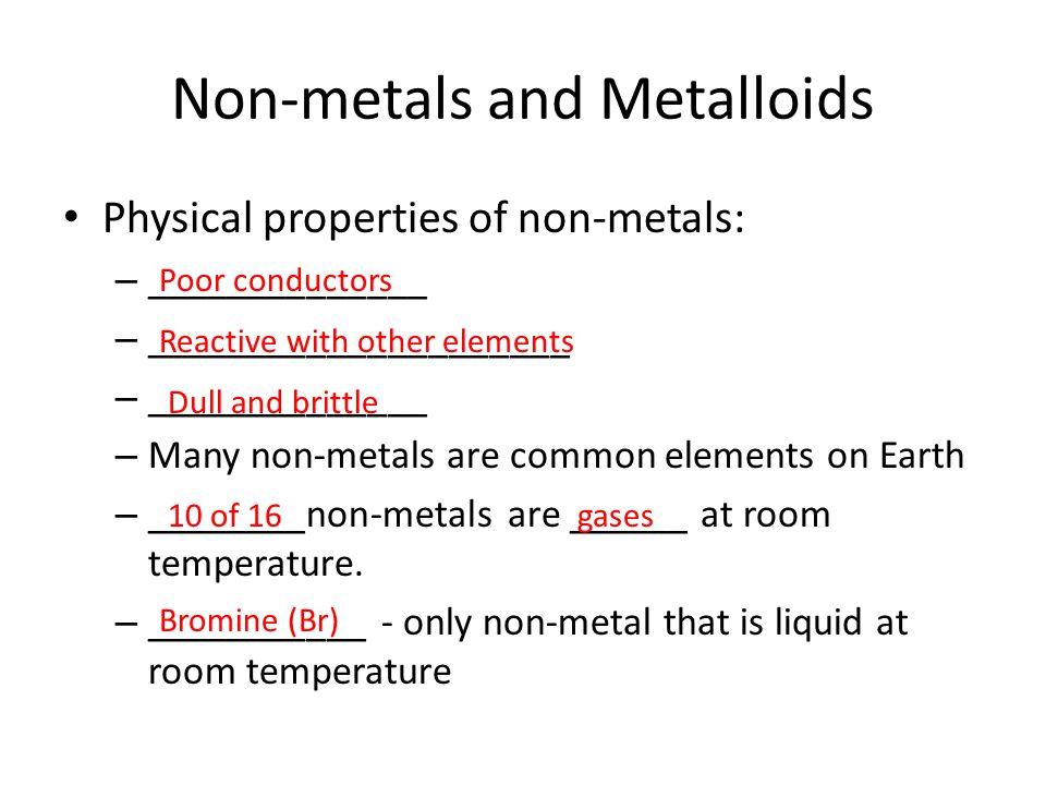 Non-metals and Metalloids
