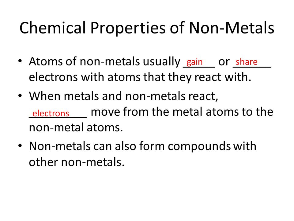 Chemical Properties of Non-Metals