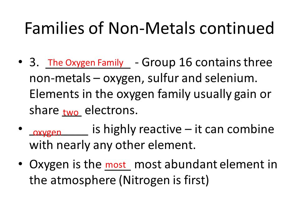Families of Non-Metals continued