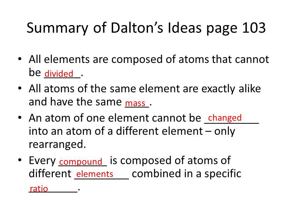 Summary of Dalton's Ideas page 103