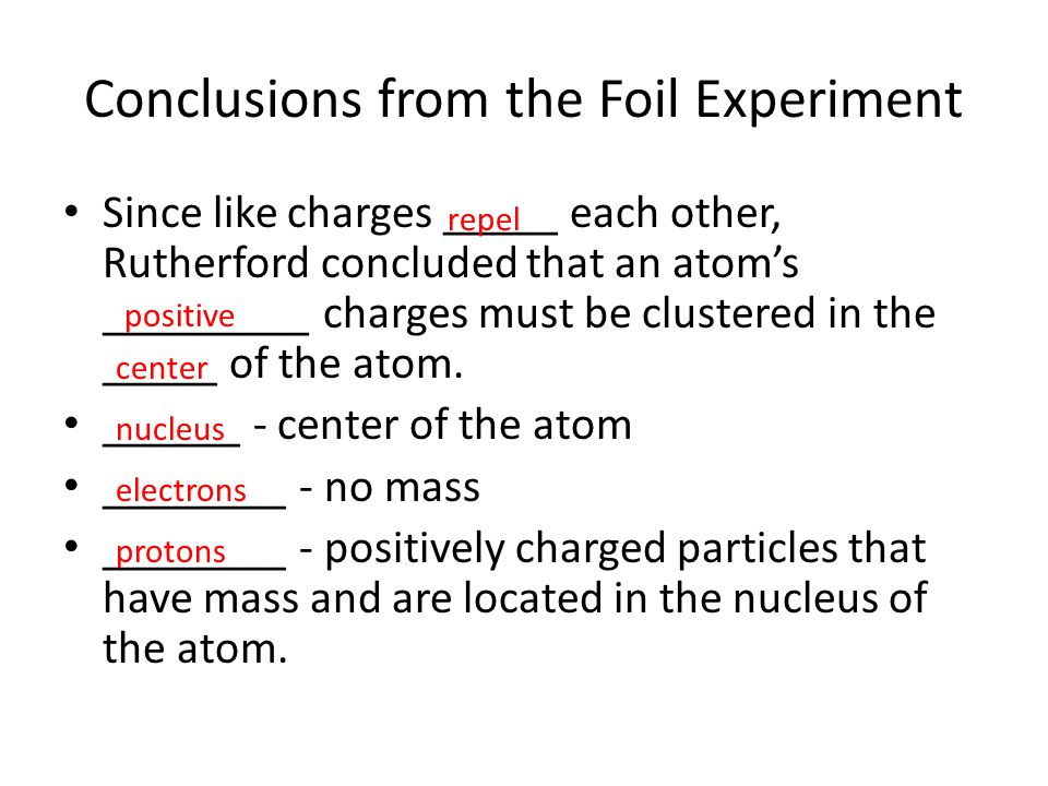Conclusions from the Foil Experiment