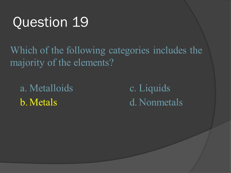 Question 19 Which of the following categories includes the majority of the elements a. Metalloids.