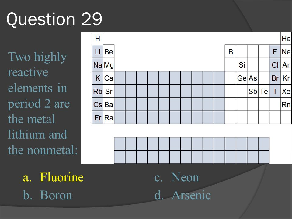 Question 29 Two highly reactive elements in period 2 are the metal lithium and the nonmetal: a. Fluorine.