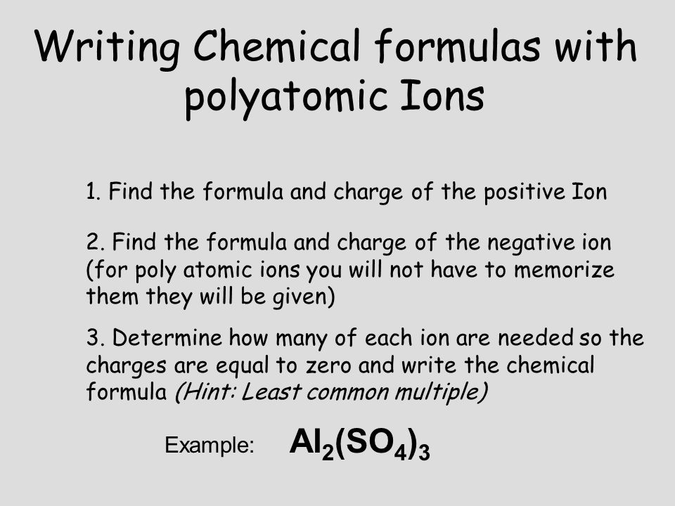 Writing Chemical formulas with polyatomic Ions