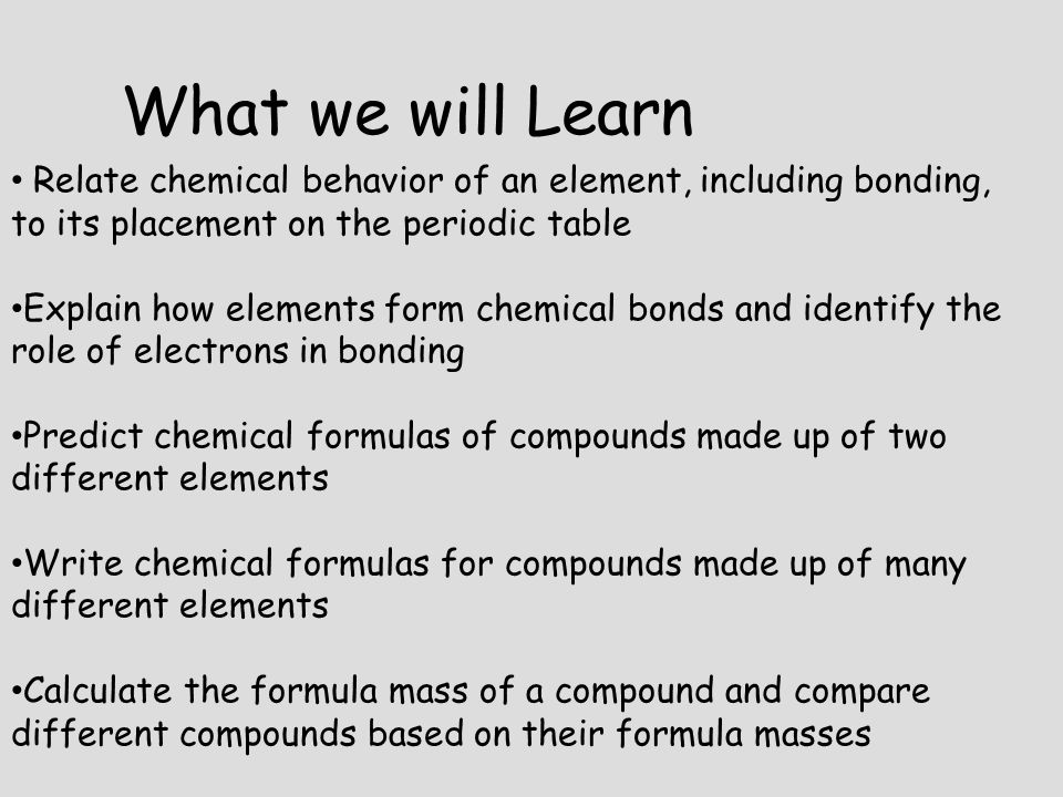 What we will Learn Relate chemical behavior of an element, including bonding, to its placement on the periodic table.