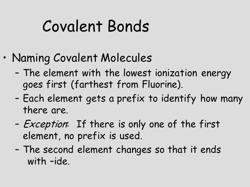 Covalent Bonds Naming Covalent Molecules