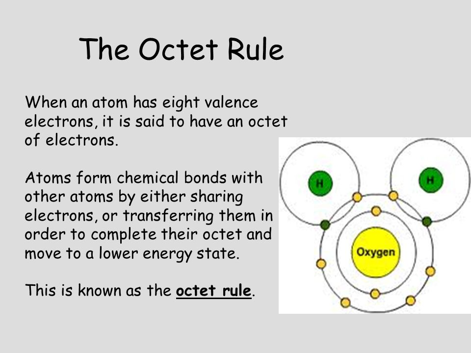 The Octet Rule When an atom has eight valence electrons, it is said to have an octet of electrons.