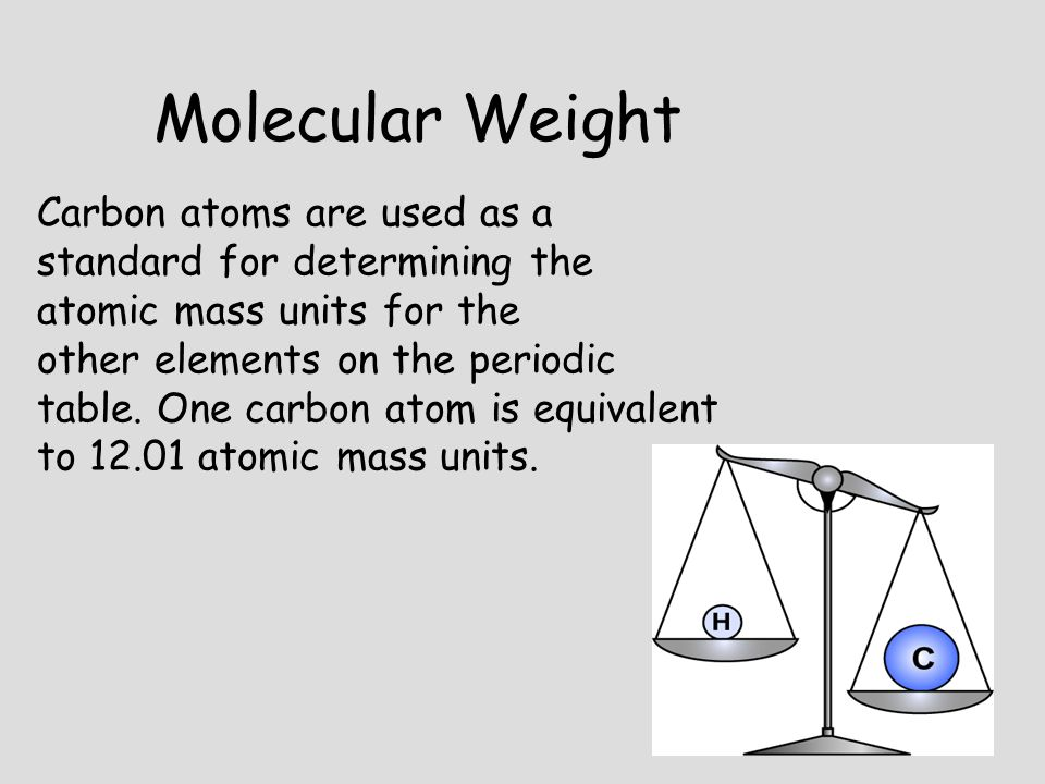 Molecular Weight Carbon atoms are used as a standard for determining the atomic mass units for the.