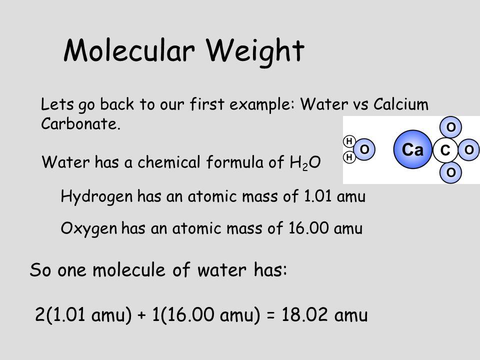 Molecular Weight So one molecule of water has: