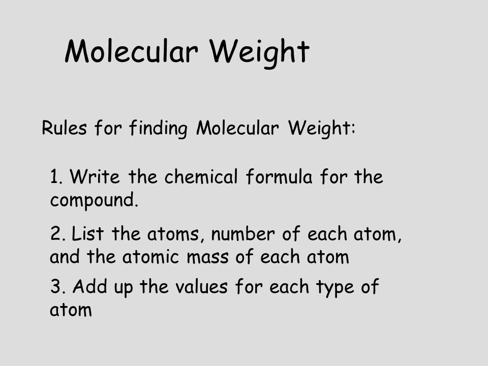 Molecular Weight Rules for finding Molecular Weight: