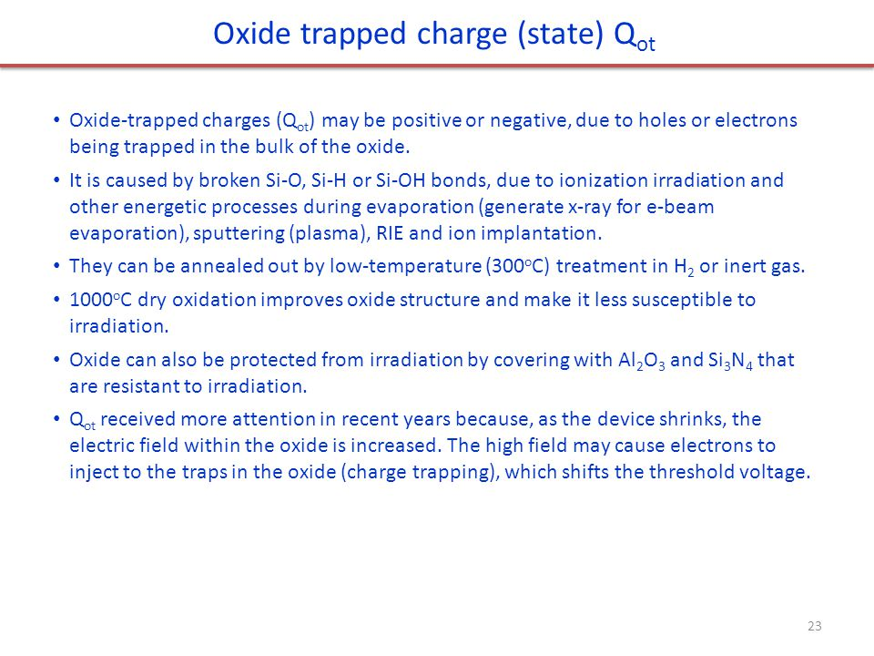 Oxide trapped charge (state) Qot
