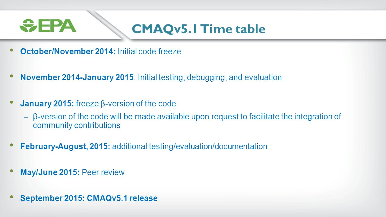 CMAQv5.1 Time table October/November 2014: Initial code freeze