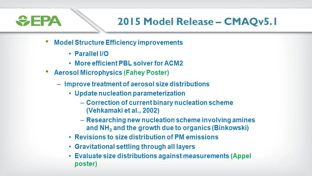 2015 Model Release – CMAQv5.1 Model Structure Efficiency improvements