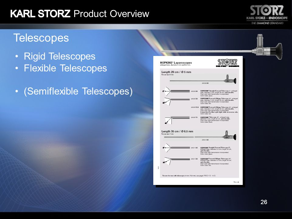 Telescopes KARL STORZ Product Overview Rigid Telescopes