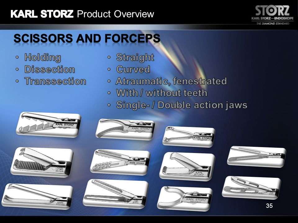 Scissors and Forceps KARL STORZ Product Overview Holding Dissection