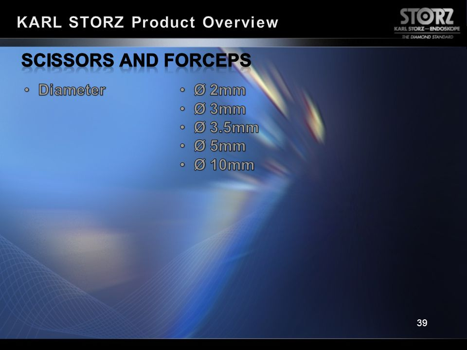Scissors and Forceps KARL STORZ Product Overview Diameter Ø 2mm Ø 3mm