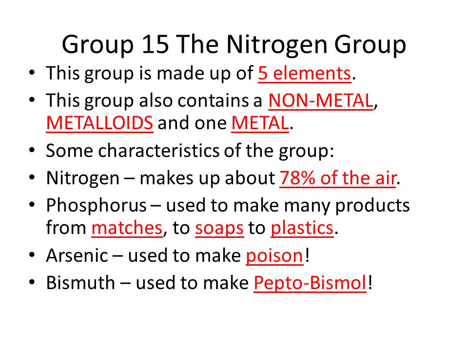 Group 15 The Nitrogen Group